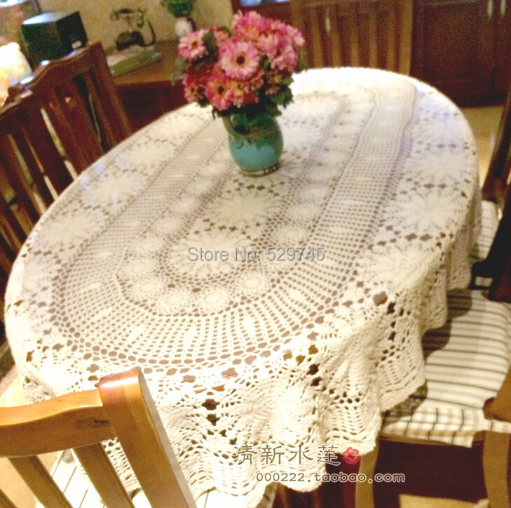 Oval Coffee Table Runner: Christmas Decorations Handmade Crochet Flowers Beige Oval