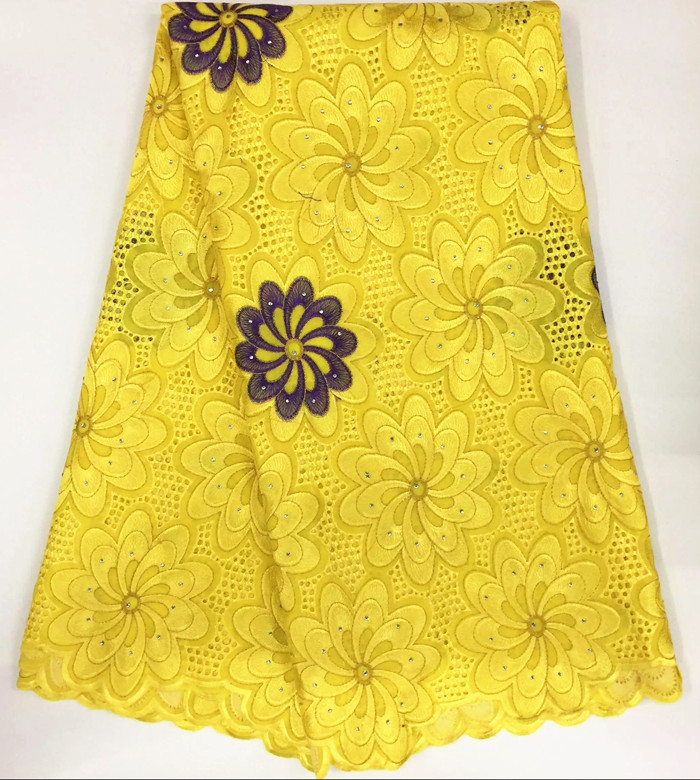 5 Yards/lot Luxury Yellow And Purple Embroidery African Cotton Lace Fabric Flower Design Swiss ...