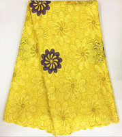 5 Yards/lot Luxury yellow and purple embroidery african cotton lace fabric flower design swiss voile lace for clothes BC132 1