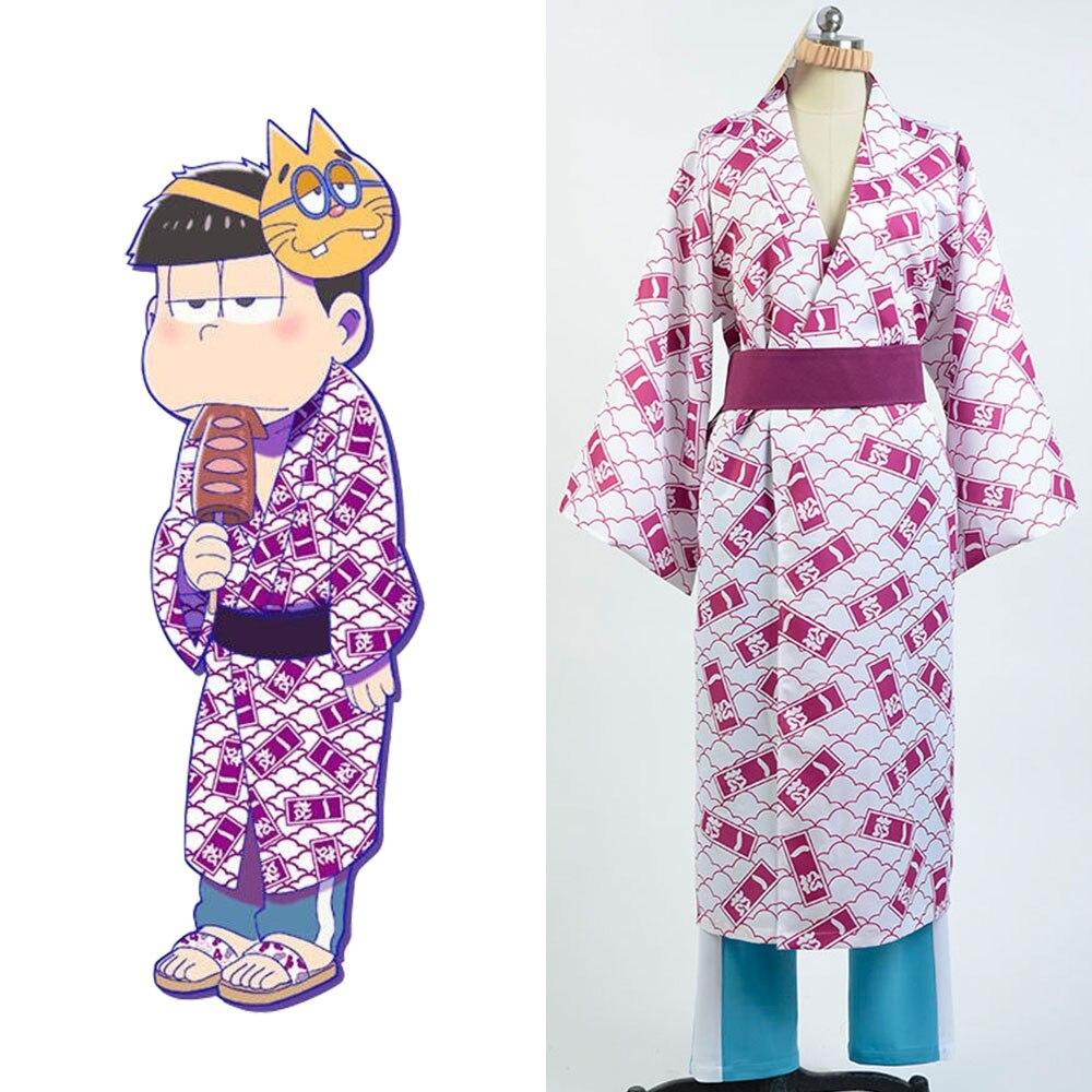 Osomatsu-kun cosplay Ichimatsu Yukata Kimono Costume Full Sets bathrobe cosplay Halloween Party Carnival Christmas Costume
