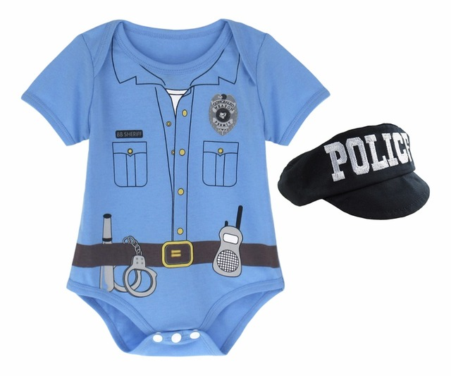 01cb7397cf3d6 Newborn Baby Boy Police Bodysuit Costume Infant Set Cute Outfits Baby 2Pcs  Clothing with Hat Set 0-12 Months