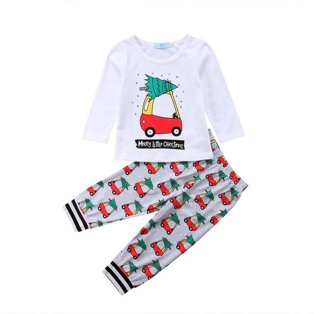 2018 Navidad niño bebé niñas niños traje de coche ropa blanca camiseta Tops  Leggings pantalones Navidad 68046f1c670
