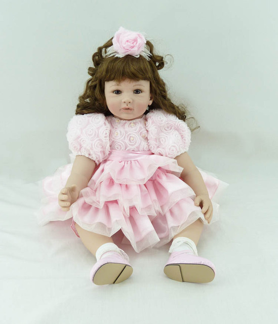 60cm Silicone Vinyl Reborn Baby Doll toys lifelike soft doll reborn babies lovely pink princess toys