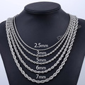 2.5/3/5/6/7mm Rope Chain Stainless Steel Necklace Womens Mens Chain Unisex Jewelry DLKN416