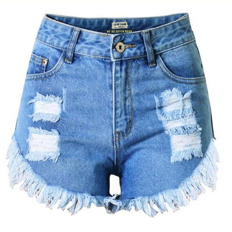 MORUANCLE Fashion Womens Ripped Jeans Shorts With Tassel Washed High Waist Distressed Hot Denim Shorts For Female With Hols