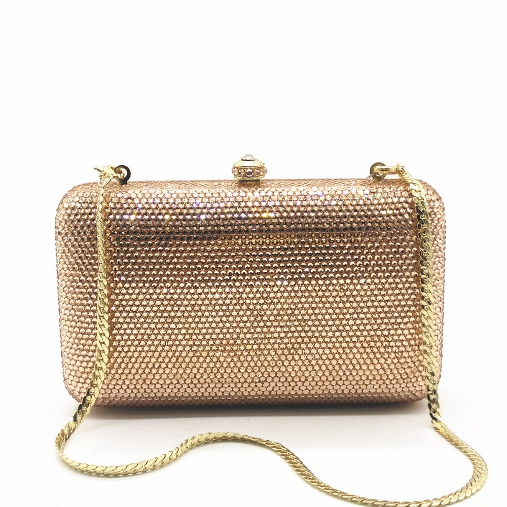 champagne/gold diamond Crystal day Clutches Bag Evening Party Minaudiere Box Clutch Purse Bridal crossbody messenger bags wallet
