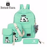 2017 Panda School Bags For Teenage Girls Canvas Backpack Girls 4pcs Set Knapsacks For Teens Pencil