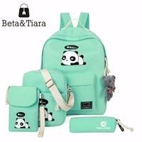 2017 Panda School Bags For Teenage Girls Canvas Backpack Girls 4pcs Set Knapsacks For Teens Pencil
