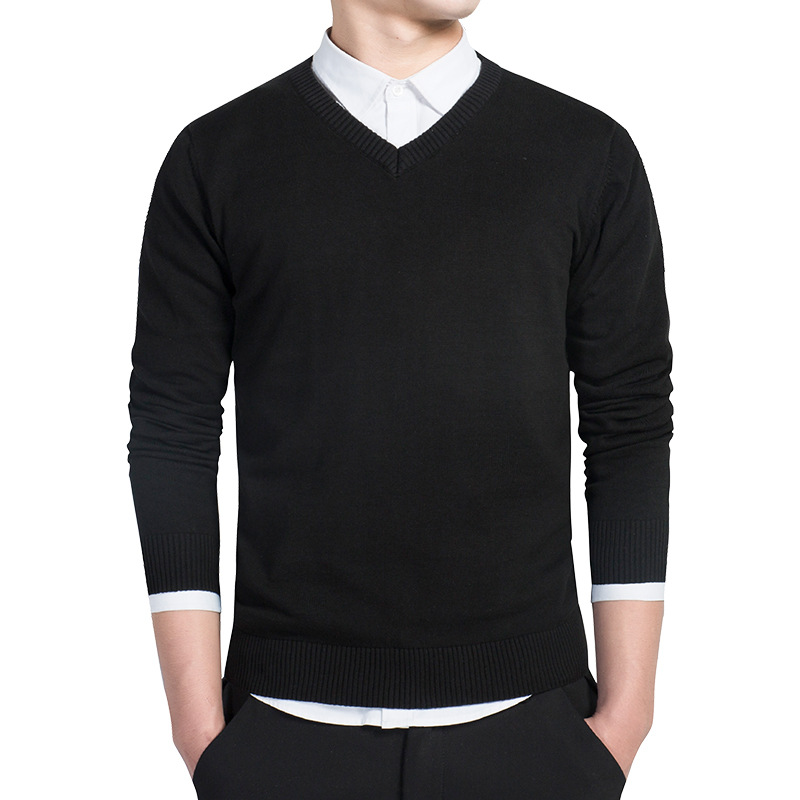 New Spring Mens Sweater Pullovers Style Cotton Knitted V Neck Sweater Pullovers Jumpers Slim Male Knitwear Wine Red Black M-4XL