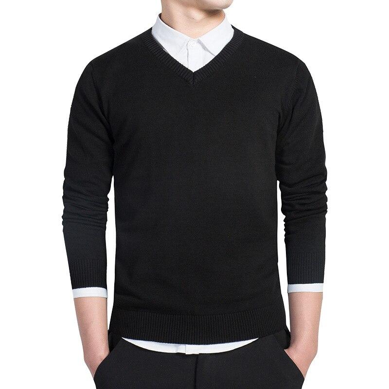 Men Casual Long Sleeve V Neck Plain Pullover Jumper Sweater Spring Shirt Tops