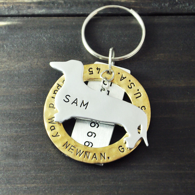 hand stamped dachshund dog tag personalized dog tag pet id tag