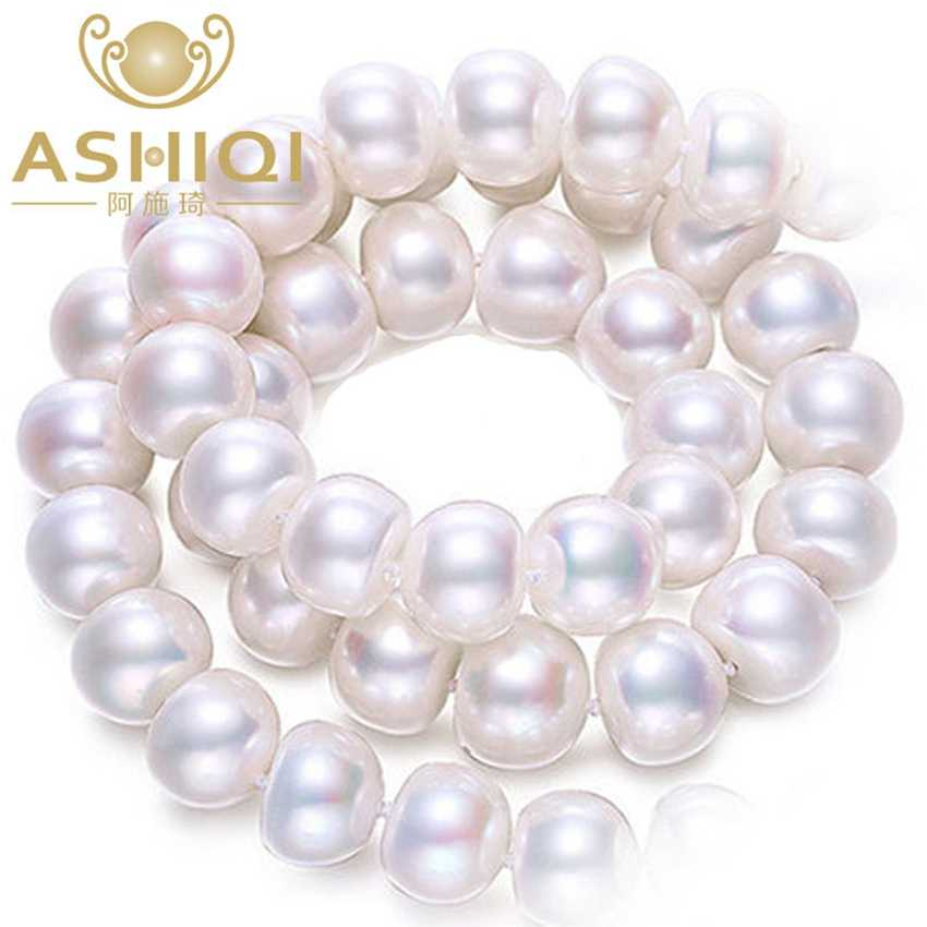 ASHIQI 100% Natural White Freshwater Pearl Necklaces  for women gift , Real Pearl  jewelry