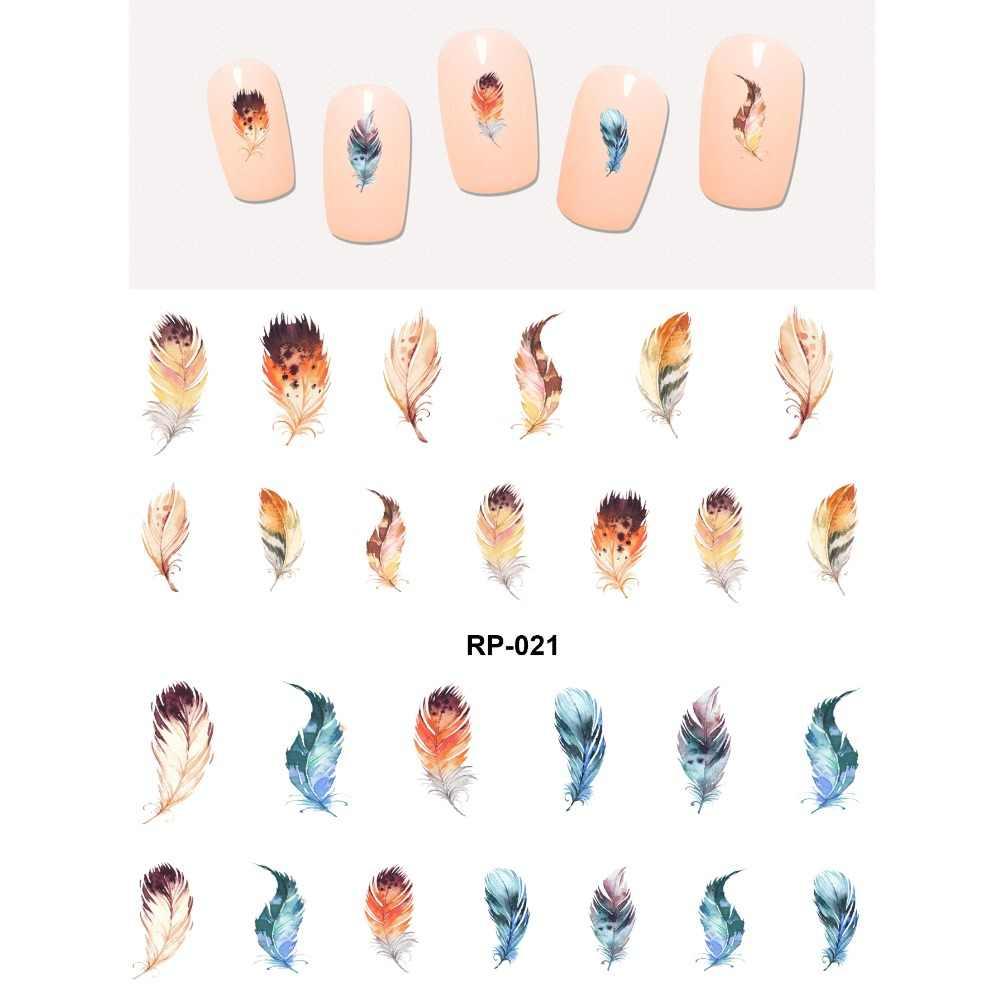 Arte de uñas belleza agua calcomanía deslizador uñas pegatina pájaro Pavo Real pluma pelo borla India RP019-024