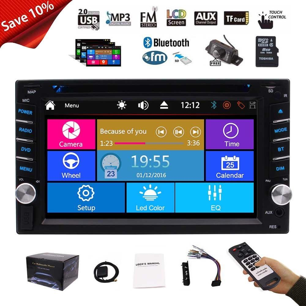 Car audio Cassette recorder player Stereo Radio 2 Din Car DVD Video Player Bluetooth GPS Navigator Map USB SD+Free Backup Camera