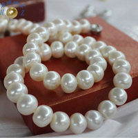 Fine Jewelry Natural color 10 11mm large light natural freshwater pearl necklace classic 925 Silver clasp