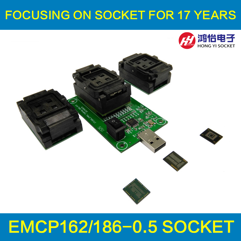 все цены на eMMC eMCP test socket 3 in1 socket with USB Interface, for BGA153/169 BGA162/186 BGA221, smart phone data recovery test solution онлайн