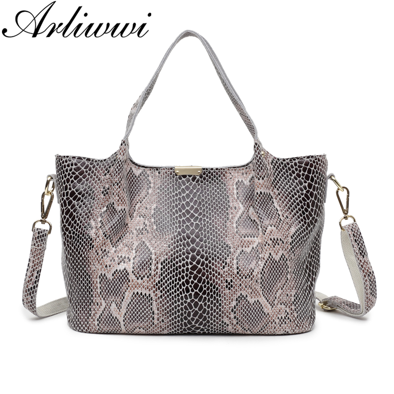 Arliwwi Female High Quality Shiny Pattern Women Bag Fashion Real Leather Graceful Soft Tote Handbags Lady