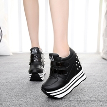 35-39 Spring Wedges High Heels Thick Soled Ladies Casual Single Shoes Autumn Women MAGIC TAPE Platform Shoes Chaussure Femme
