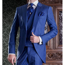 Royal Blue Long Wedding Groomsmen Tuxedos for Groom Wear 2018 Three Piece Jacket Pants Vest Peaked Lapel One Button Men Suits