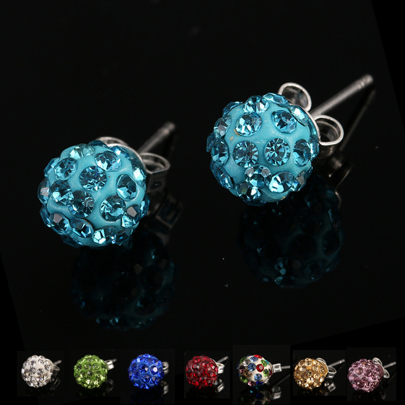 koraba Set 8mm Shamballa Brand Earrings Micro Disco Ball Shamballa Crystal Stud Earrings For Women Fashion Jewelry