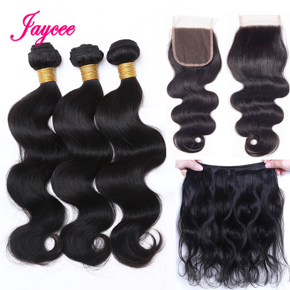 Jaycee Hair Brazilian Hair Weave 3 Bundles With Lace Closure Middle Part Human Hair Body Wave Bundles With Closure Non-remy