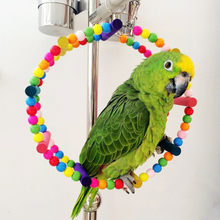 Parrot Bird toy Arched Climbing Swing Wheel Colorful Wooden Round Shape Hanging Cage Accessories Supplies