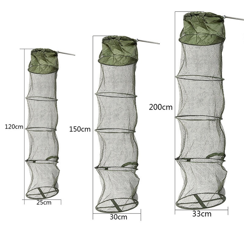 5 Layers Fishing Net Cage Utility Folding Fish Care Creel Tackle Portable Stake Small Mesh Net Foldable Fishing Network