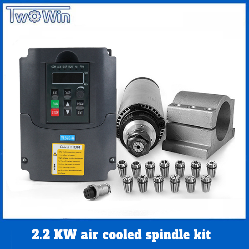 2.2 kw <font><b>Air</b></font> <font><b>Cooled</b></font> <font><b>Spindle</b></font> Motor ER20 Motor 4 Bearing <font><b>Air</b></font> Cooling 2200w CNC Milling Motor & VFD & 80mm Clamp & ER20 Lathe Chuck image