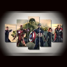 Hot Sell 5 Pieces Top-Rated HD Printed Canvas Painting Movie The Avengers Type Poster Framework Decorative Bedroom Living Room