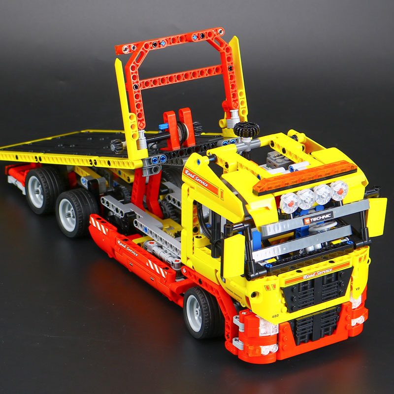 H&HXY 20021 Technic Series 1115 pcs Flatbed Trailer LEPIN Model Building Blocks Bricks Compatible Toy Gift Educational Car 8109 new lepin 21003 series city car beetle model educational building blocks compatible 10252 blue technic children toy gift