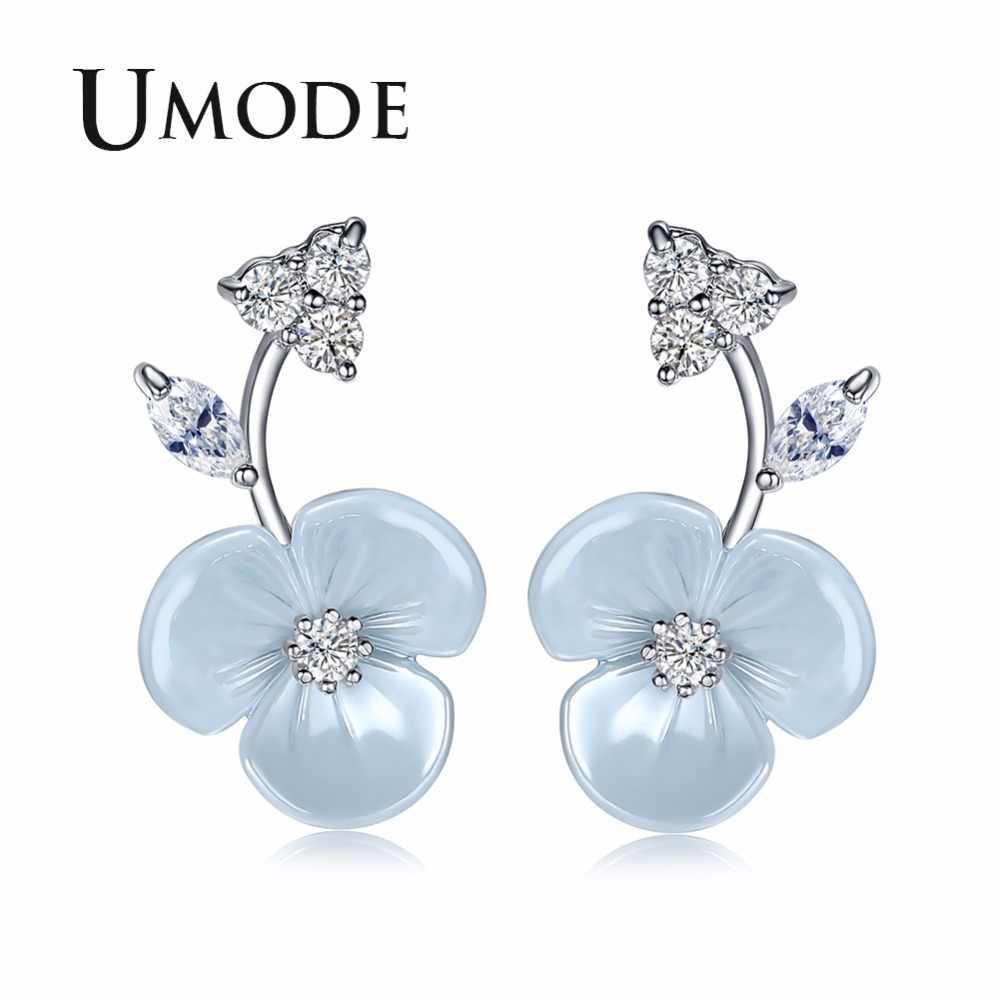 UMODE милый цветок серьги-гвоздики серьги для женщин CZ женские модные современные свадебные ювелирные изделия аксессуары pendientes mujer moda UE0371