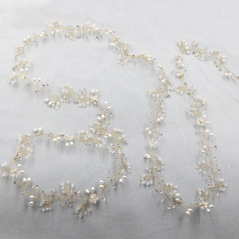 Long Tiara Bridal Headbands Wedding Headpiece Pearl Jewelry - Նորաձև զարդեր - Լուսանկար 5