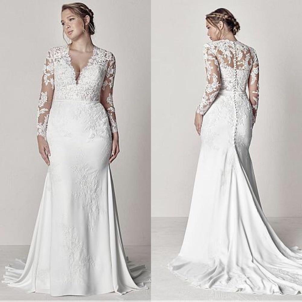 Sheer Lace Applique Long Sleeve Wedding Dress V Neck: Modest V Neck Lace Wedding Dresses Long Sleeve Illusion