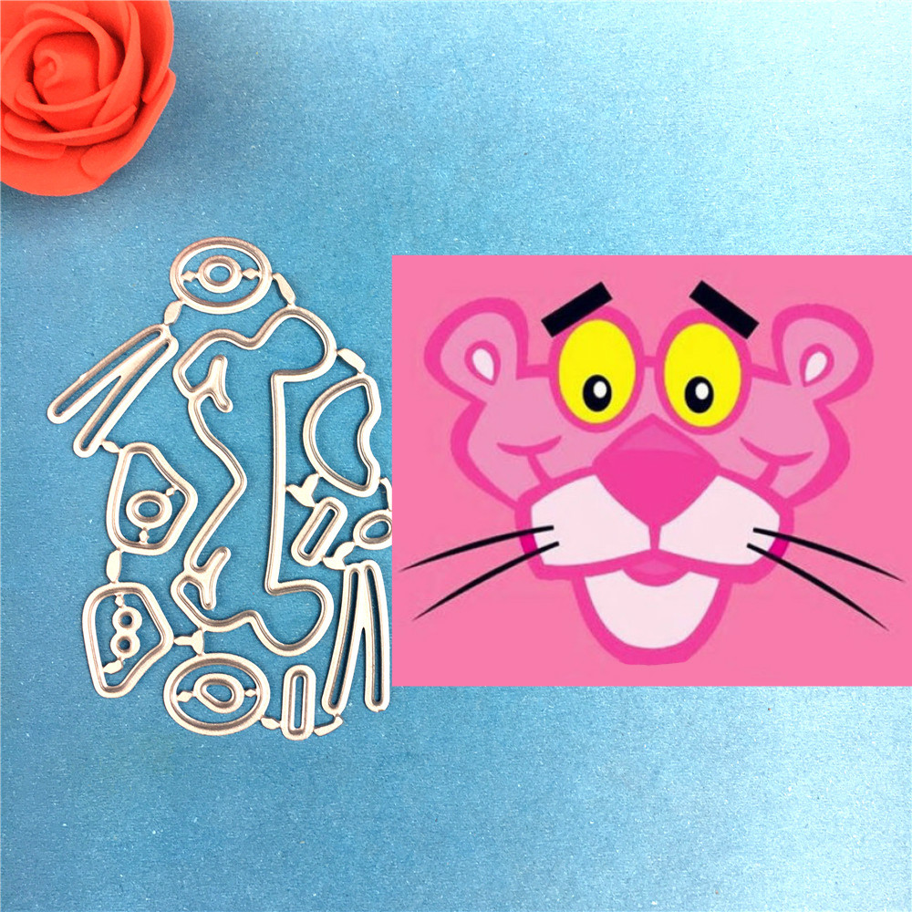 1PCS Pink Panther Metal Cutting Dies Christmas Stencils For DIY Scrapbook Paper Card Decorative Craft Embossing Die Cuts in Cutting Dies from Home Garden
