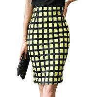 2017 New Woman's Spring Summer OL Skirt Hot Female High Waist Skirt Black and Yellow Plaid Pencil Skirt Slim Hip skirts womens