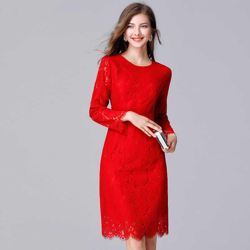 d0578eef44a 2019 женское кружевное вечернее платье красного цвета Большие размеры весна  осень женские модные кружевные платья