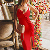 INDRESSME Sexy Deep V Women Bandage Party Dress Fashion Ruffles Spaghetti Strap Backless Knee Length Split