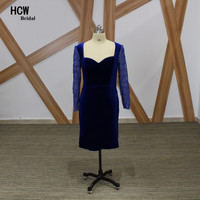 Royal Blue Mother Of The Bridal Dress Long Sleeve Open Back Sheath Beaded Velvet Short Mother