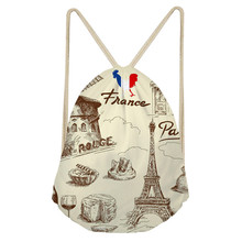 Noisy Designs Womens Paris Eiffel Tower Printed Mini Backpack Off White Bag School Girls Pocket Feminine Backpacks Shopper