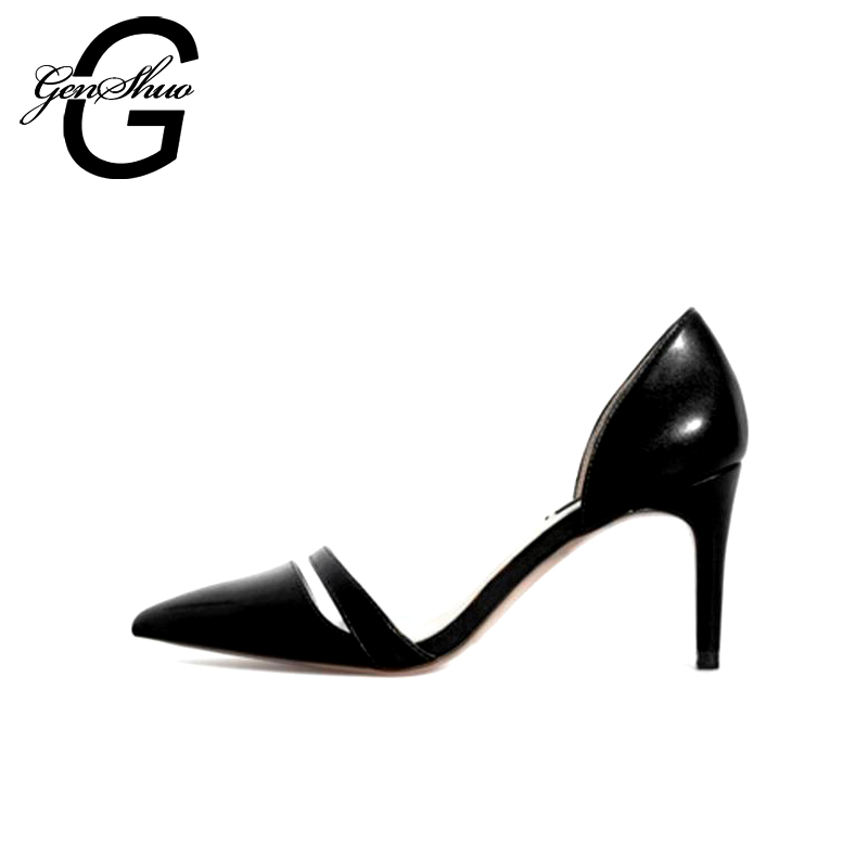 GENSHUO 2017 New Spring Summer Genuine Leather Women Pumps Sweet High-heeled Shoes Thin High Heel Shoes Hollow Pointed Stiletto new hollow pointed stiletto elegant spring summer women pumps sweet bowknot high heeled shoes thin pink high heel shoes k88