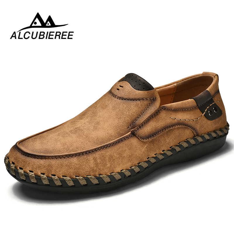 גברים מקרית נהיגה נעלי 2018 עור נעלי חצאיות גברים אופנה בעבודת יד רך לנשימה מוקסינים דירות להחליק על נעלי זכר