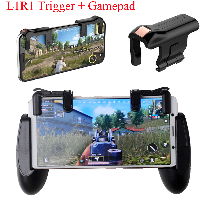 Mobile Game Fire Button Aim Key Phone Games L1R1 Trigger+Gamepad Cradle Handle Controller PUBG V3.0 Knives out Rules of Survival