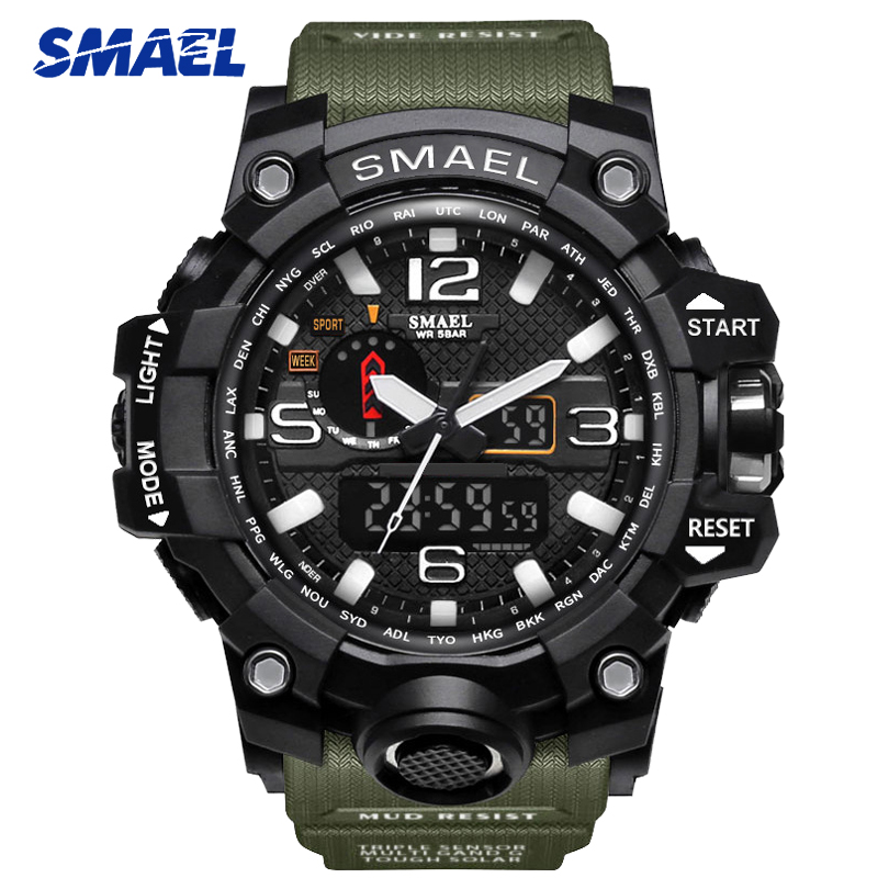 SMAEL Watches Men Big Dial Electronic Dual Display Wristwatches Military Alarm Quartz Clock Man Sports Watch 1545 montre homme smael 1708b