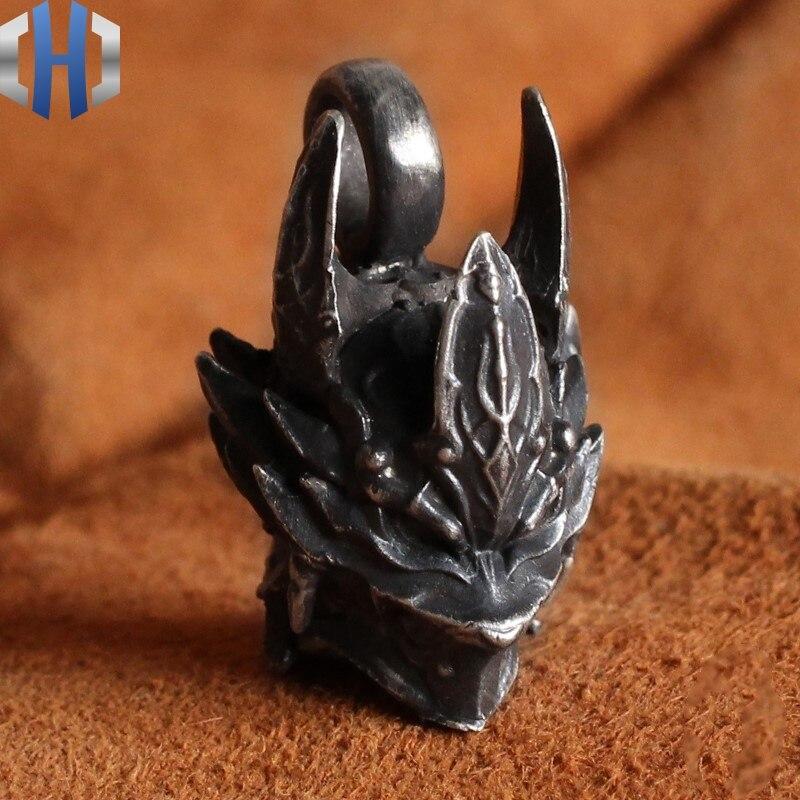 Hommes et femmes Original fait à la main 925 pendentif en argent Sterling collier japonais Harajuku Style loup chevalier casque collier