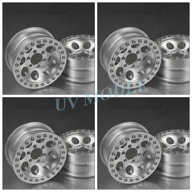 4 Pcs/lot Silver Alloy 1/10 RC Crawler 1.9 Beadlock Wheels for SCX10 D90 90034 90035 Aluminum Rim Free Shipping mxfans rc 1 10 2 2 crawler car inflatable tires black alloy beadlock pack of 4