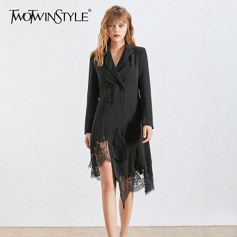 Kadın Giyim'ten Elbiseler'de TWOTWINSTYLE Zarif Dantel Patchwork Elbise Kadınlar Için Yaka Uzun Kollu Yüksek Bel Asimetrik Elbiseler Kadın Moda 2019'da  Grup 1