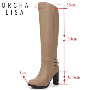 Image 2 - ORCHA LISA Women Winter Thick Fur Knee High Heel PU Leather Boots Zipper Snow Boot Long Chunky Heels Botas Feminina Black Brown