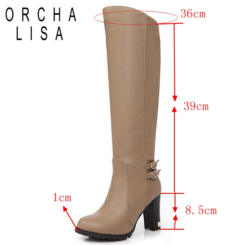 Image 2 - ORCHA LISA Womens Winter Fur Knee High Heel Boots Zipper Warm Snow Boots long boots botas feminina Black Brown CCA059-in Knee-High Boots from Shoes