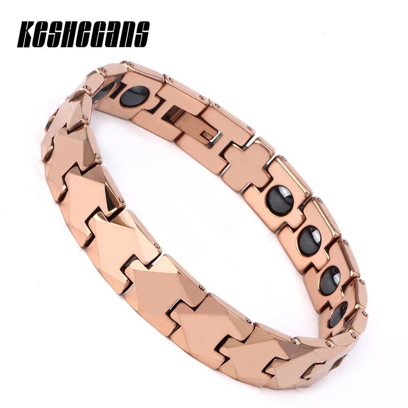Tungsten Steel Bracelet Rose Gold Energy Magnetic Ion Germanium Bracelet Women Elegant Hombre Chain Bangle Fashion Jewelry Gifts цена