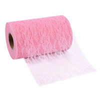 22m Roll Pink Beige White Lace Spool Fabric Ribbon DIY Chair Sash Bow Table Runner Decoration